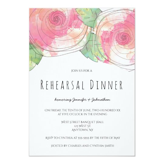 Watercolor rose rehearsal dinner invitations