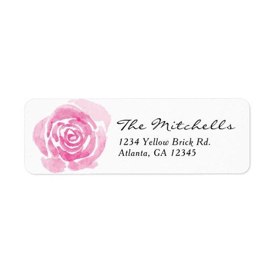 Watercolor Rose Return Address Label