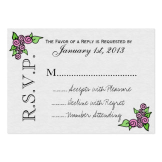 Watercolor Rose RSVP Cards (pk 100) Pack Of Chubby Business Cards