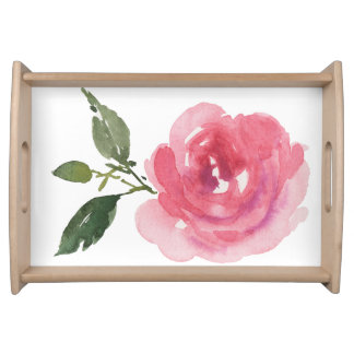 Watercolor Rose Serving Tray