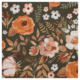Watercolor Rosehips and Roses Floral Apricot ID460 Fabric