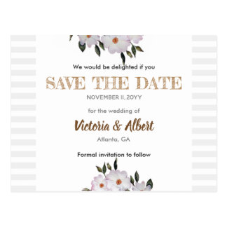 Watercolor Roses Ballerina Wedding Save The Date Postcard