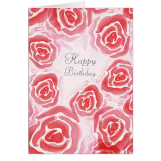 Watercolor Roses Blank Greeting Card