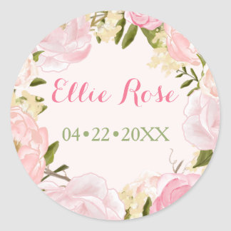 Watercolor Roses Custom Pink Birth Announcement Round Sticker