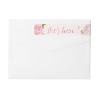 Watercolor Roses Custom Pink Birth Announcement Wraparound Return Address Label