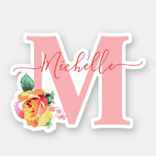 Watercolor Roses Floral Letter Initial Monogrammed