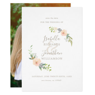 Watercolor Roses Floral Wreath Save The Date Photo Card