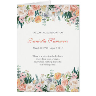 Watercolor Roses Funeral Sympathy Thank You Card