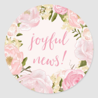 Watercolor Roses Joyful News Birth Announcement Round Sticker