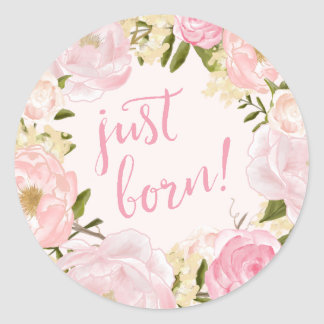 Watercolor Roses Just Born Birth Announcement Seal Round Sticker
