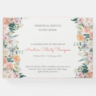 Watercolor Roses Memorial Funeral Guest Book