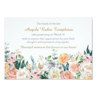 Watercolor Roses Memorial Funeral Thank You Card