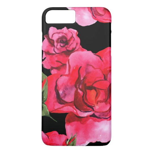 Watercolor Roses on Black iPhone 7 Plus Case