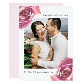 Watercolor Roses Photo Save the Date Card