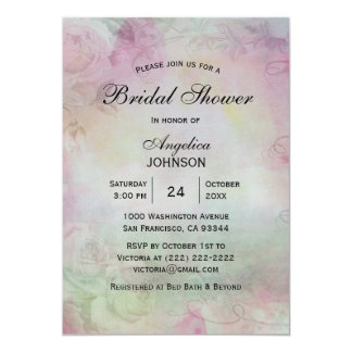 Watercolor Roses Pink Green Bridal Shower Invites