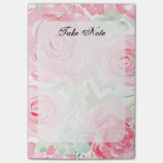 Watercolor roses post-it notes