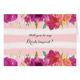 Watercolor Roses Will You Be My Bridesmaid Card