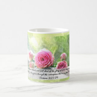 Watercolor Roses with Romans 3:23 & 24 Mug