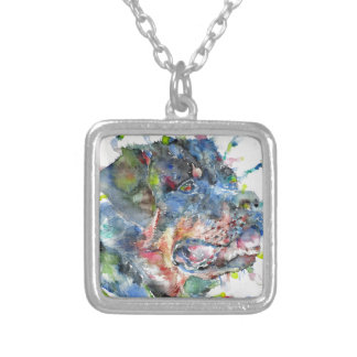 watercolor rottweiler silver plated necklace
