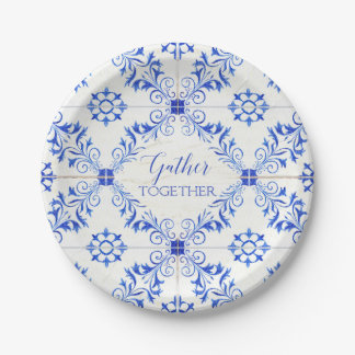Watercolor Rustic Country Blue White Tile Wood Paper Plate