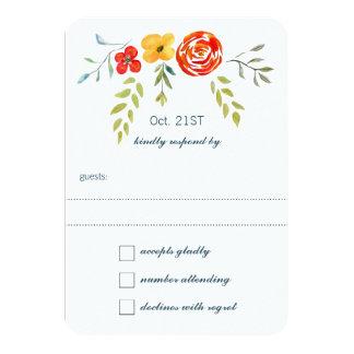 Watercolor Rustic Floral Garland Folk Art Wedding 9 Cm X 13 Cm Invitation Card