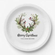 Watercolor Rustic Reindeer Christmas Party Paper Plate