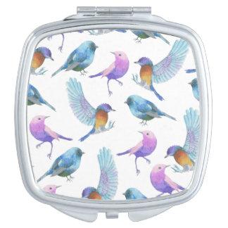 Watercolor Safari: Birds (Customizeable BG) Compact Mirror