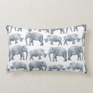 Watercolor Safari Elephants & Rhinos Pattern Lumbar Cushion