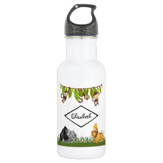 Watercolor Safari Jungle Animal Illustration 532 Ml Water Bottle