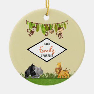 Watercolor Safari Jungle Animal Illustration Baby Christmas Ornament