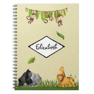 Watercolor Safari Jungle Animal Illustration Notebooks