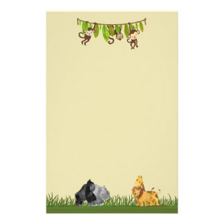 Watercolor Safari Jungle Animal Illustration Stationery Design