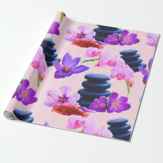 Watercolor Saffron and Orchid Flowers Zen Wrapping Paper