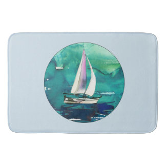 Watercolor Sailboat Bath Mat