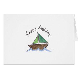 Watercolor sailboat greeting card