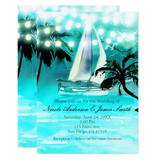 Watercolor Sailboat Palm Trees & String Lights Card
