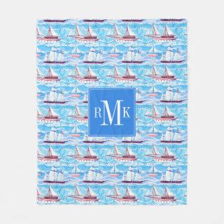 Watercolor Sailing Ships Pattern Fleece Blanket