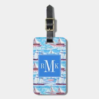 Watercolor Sailing Ships Pattern Luggage Tag