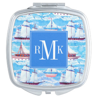 Watercolor Sailing Ships Pattern Mirrors For Makeup