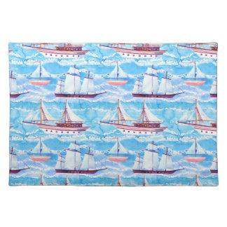 Watercolor Sailing Ships Pattern Placemat
