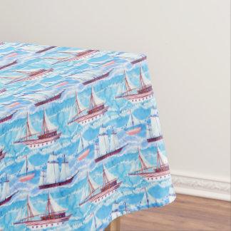 Watercolor Sailing Ships Pattern Tablecloth
