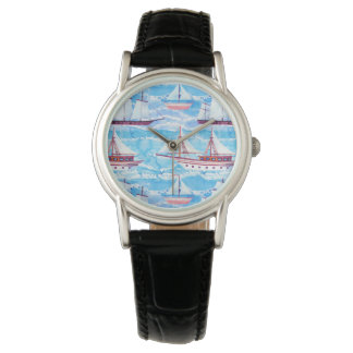 Watercolor Sailing Ships Pattern Watch