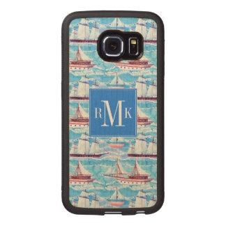 Watercolor Sailing Ships Pattern Wood Phone Case