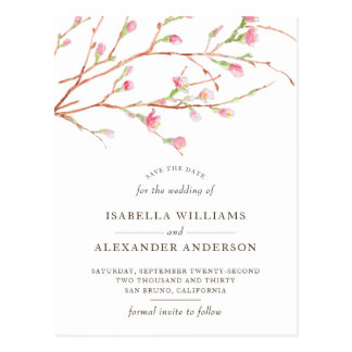 Watercolor Sakura | Cherry Blossom Save The Date Postcard
