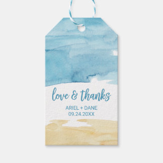 "Watercolor Sand and Sea ""Love & Thanks"" Gift Tags"