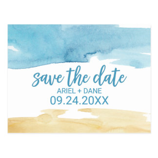 Watercolor Sand and Sea Save the Date Postcard