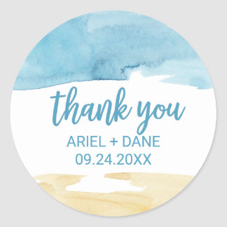 Watercolor Sand and Sea Thank You Favor Classic Round Sticker