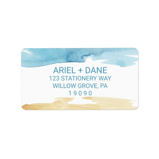 Watercolor Sand and Sea Wedding Address Label