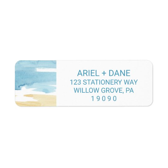 Watercolor Sand and Sea Wedding Return Address Label