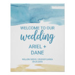 Watercolor Sand and Sea Wedding Welcome Poster